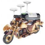HJ-12 WODDEN VINTAGE MOTOR BIKE WINE GLASS AND WINE BOTTLE HOLDER