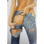 """S-43 20 X 30 CM VINTAGE SIGN """"RIPPED JEANS"""" METAL FRAME"""