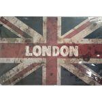 """S-7 20 X 30 CM VINTAGE SIGN """"LONDON"""" METAL FRAME"""